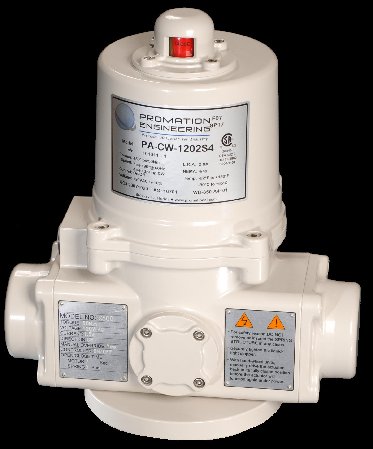 Spring Return Electric Actuators: Quarter-Turn PA PD